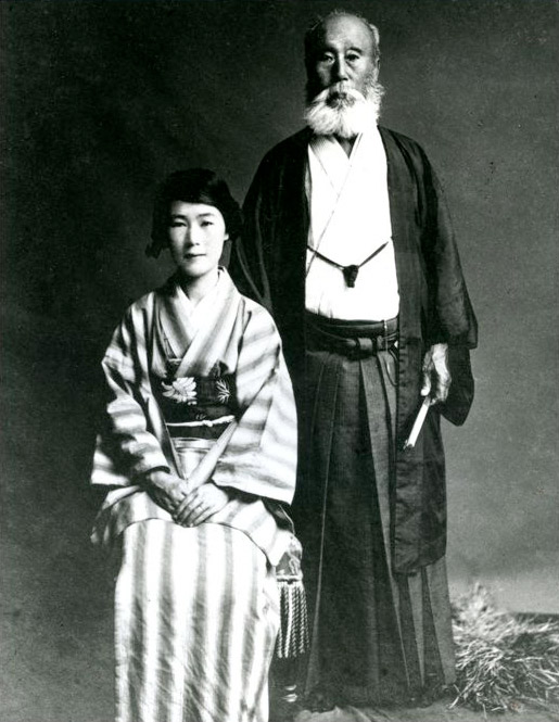 Kiyoshi Kiyooka with her father, Masaji Oe, the 17th head of the Muso Jikiden Eishin-ryu school of swordsmanship.