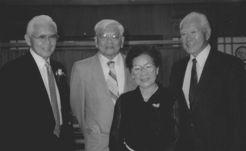 永野三兄弟と順子。左から三男ポール、長男タイラス、次男ジャックと長女・順子(おそらくは)1977年に日系カナダ人百年祭にカナダを訪問した際の撮影)Photo: Courtesy of George Nagano family