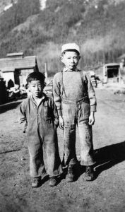 Hiroaki and Haruo on the Street, Tashme, BC.  NNM 2014.20.1.2.35.